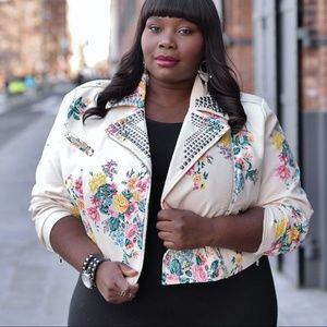 ASHLEY NELL TIPTON White Floral Moto Jacket Studs